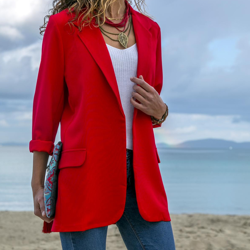 2019 New Suit Female Temperament Professional Casual Red Suit Jacket Elegant Women's Clothing Splicing Slim Solid color Suit