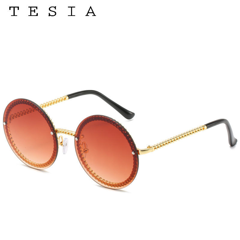Brand Round Sunglasses Women Luxury Rimless Feamle Shades Europe Popular Ins Sun glasses lunettes de sol femme 3