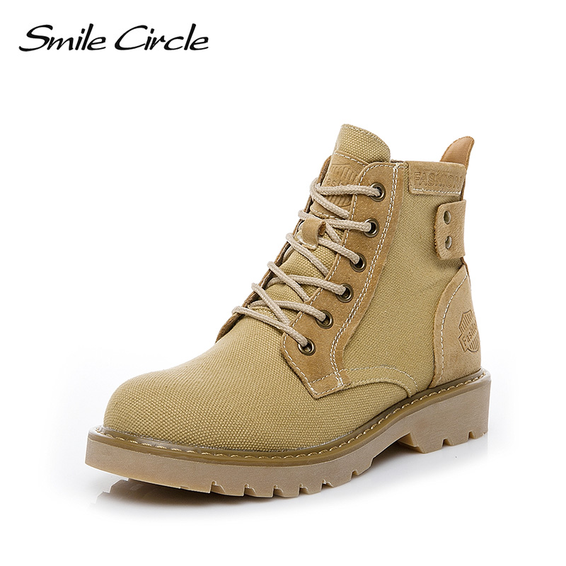 Smile Circle Martin Boots for Women flat Platform shoes Fashion Lace-up Ankle boots High-top Ladies shoes 2019 spring Smile Circle Martin Boots for Women flat Platform shoes Fashion Lace-up Ankle boots High-top Ladies shoes 2019 spring