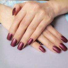 Фотография Matte Acrylic False Nails Chocolate Brown Candy Color Fake Nail DIY Nail Art Full Cover Nail Tips 24Pcs K