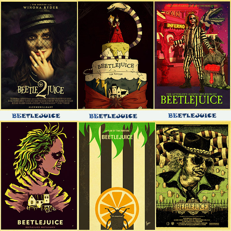 Vintage Poster Classic Horror Movie Beetlejuice Posters  Tableau Mural Wall Painting For  Bar Pub Haunted House