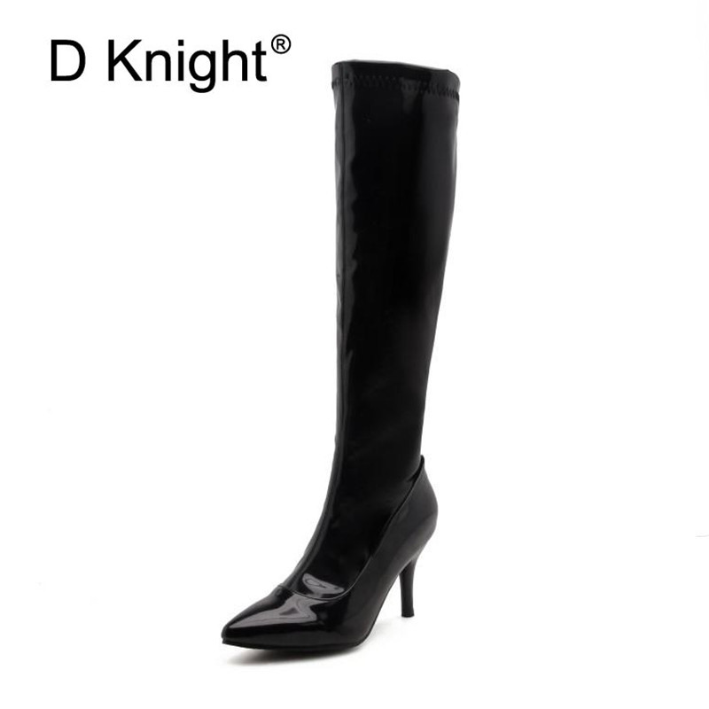 Plus Size 32 46 Sexy Steel Pipe Dance Boots Fashion Patent Leather Side Zip Platform High Heels Knee High Boots Red Black White