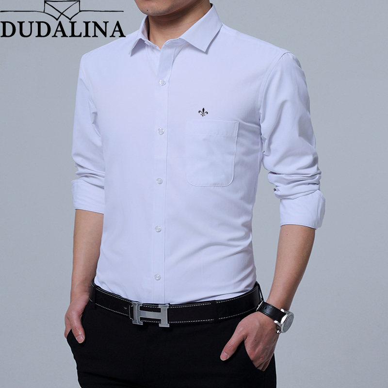 Dudalina Shirt Male Solid Casual Clothes Men Shirt 2019 Long Sleeve Formal Business Man Shirt Slim Fit Designer Twill Dress
