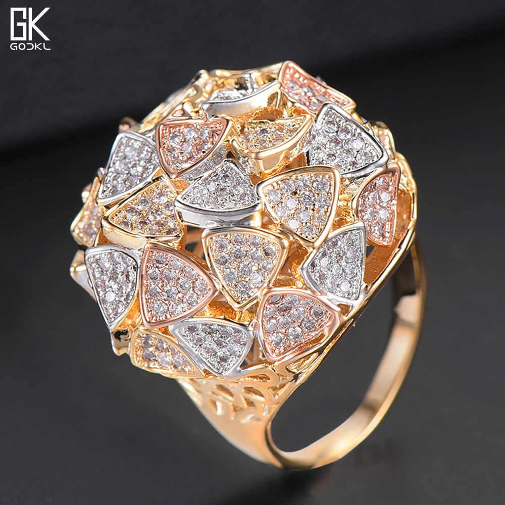 GODKI Luxury LEAF Cluster Statement Big Rings For Women Wedding Crystal Zircon Dubai Bridal Finger Rings Jewelry Addiction 2018