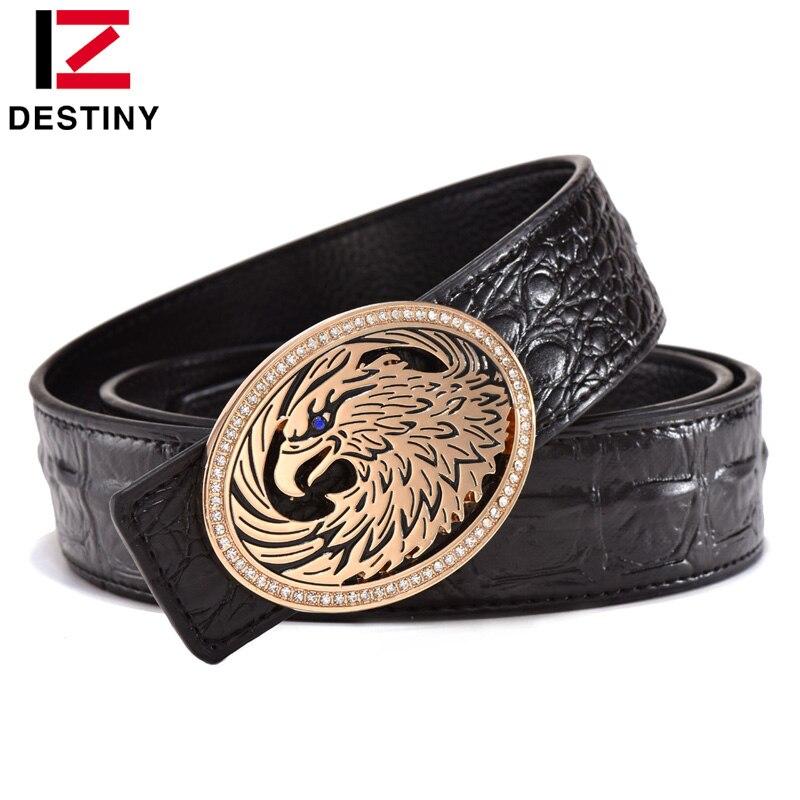 DESTINY Luxury Men Belt Famous Brand Designer Belts Male Genuine Leather Strap Fashion Waistband Crocodile Gold Wedding Eagle