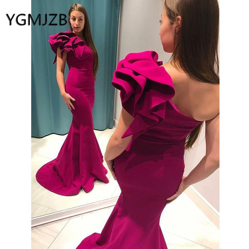 gala jurken 2019 Elegant Long   Prom     Dresses   Mermaid Ruffles One Shoulder Rose Red Evening Gown African Women Formal Party   Dress