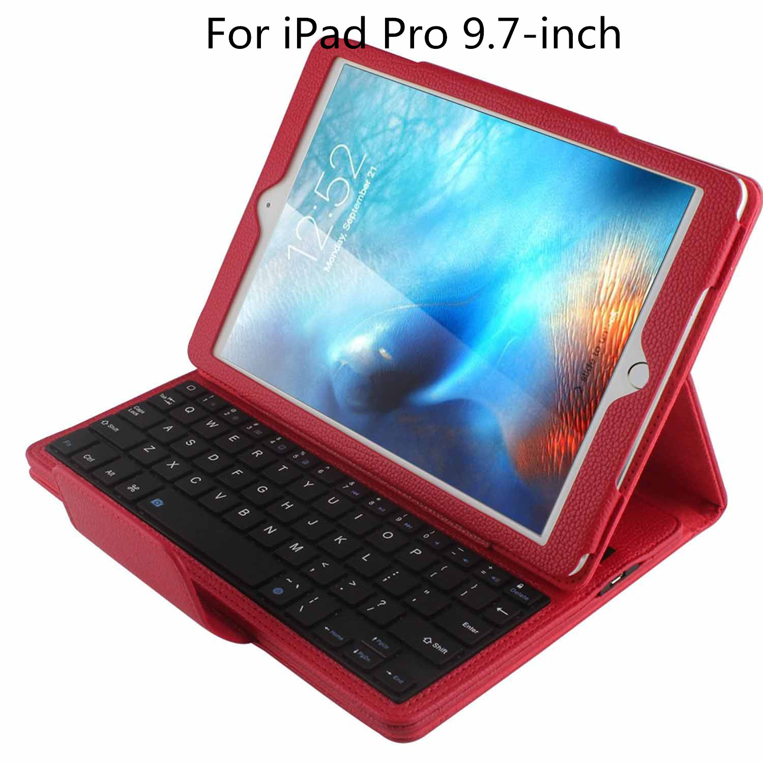 Magnetically Detachable Hidden Wireless Bluetooth Keyboard Folio PU Leather Case Smart Cover For Apple iPad Pro 9.7 Inch (2016)
