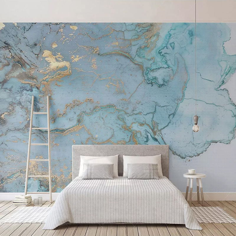 Custom Photo Wallpapers 3D Stereo Blue Texture Marble Wall Paper Murals Living Room TV Sofa Bedroom Study Decor Papel De Parede