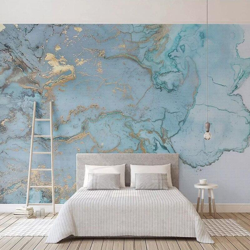 Personalizado Foto Wallpapers 3D Estéreo Azul Textura de Mármore Murais de Papel de Parede Sala TV Sofa Quarto sala de Estudo Decoração Papel De parede