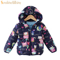 Next 2017 inverno graffiti crianças parkas meninos meninas casacos & coats Impressão Dos Desenhos Animados Jaqueta Com Capuz Casaco Quente para o Menino Da Menina do bebê 3-8 T
