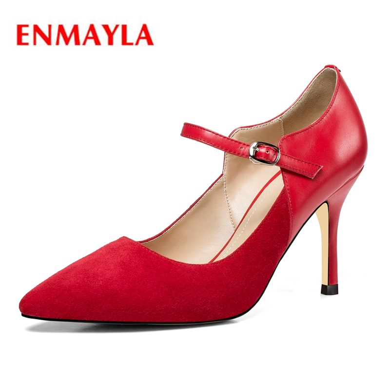 ENMAYLA  Pointed Toe  Kid Suede  Thin Heels  Buckle Strap  Zapatos Mujer Tacon  Shoes Woman High Heel Size34-39 ZYL2027
