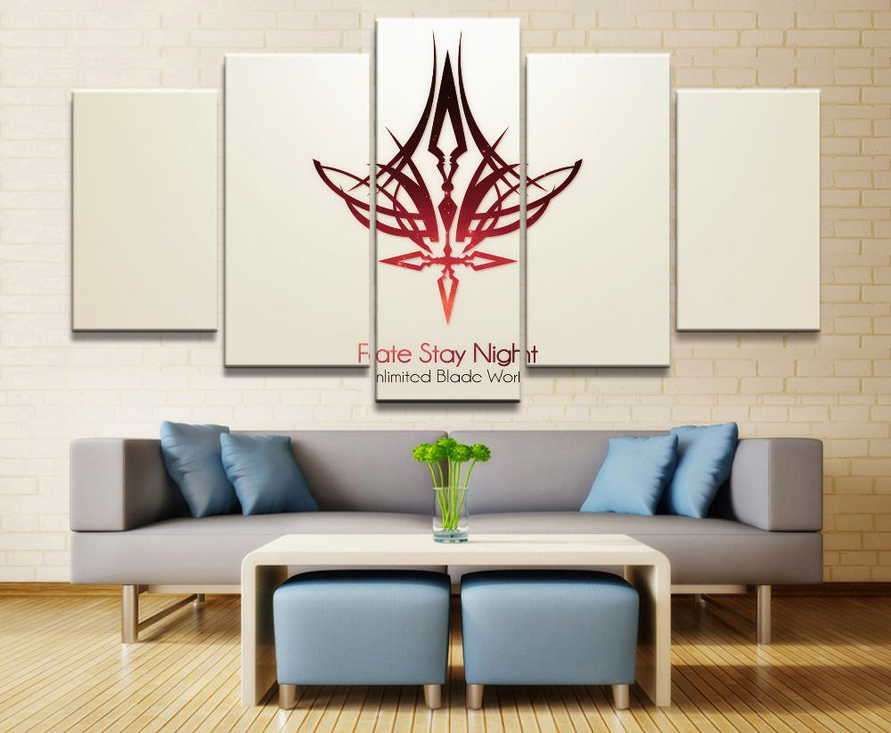 Fate Stay Night Anime 5 Piece HD Print Home Painting Wall Art Canvas Art For Living Wall Art Painting Modern Decorative Artwork in Painting Calligraphy from Home Garden