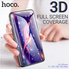 hoco tempered glass for iPhone X Xr Xs Max screen protector anti-fingerprint shock-proof 3D edges ultra thin film protection