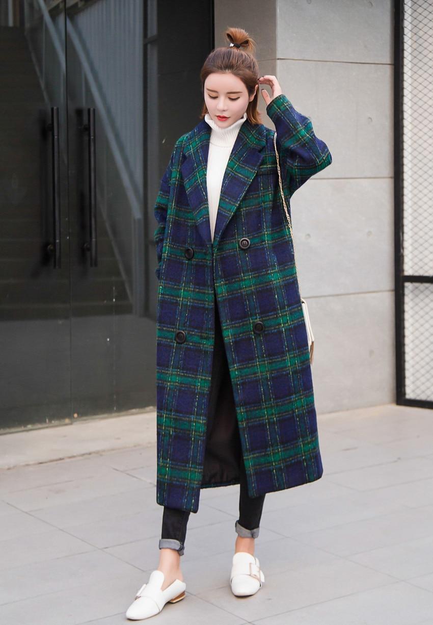 2017 Nueva Giro Maxi Mujer Lana largo Ropa Green Cassic X Simple abajo E0707 Collar De Otoño Xl Invierno Moda Abrigo Traje rpqwrSE