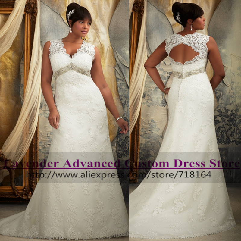 Vintage Elegant Open Back Lace Plus Size Wedding Dress 2017 Hot Sale