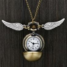 Бронзовое ожерелье карманные часы Прекрасный снитч шар кулон с крыльями ожерелье цепь часы Подарки для детей мальчик девочка reloj de bolsill