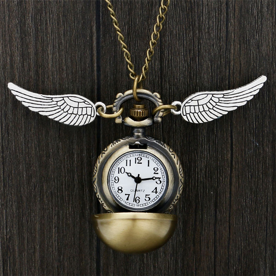 Bronze Necklace Pocket Watch Lovely Snitch Ball Pendant With Wings Necklace Chain Clock Gifts For Kids Boy Girl Reloj De Bolsill
