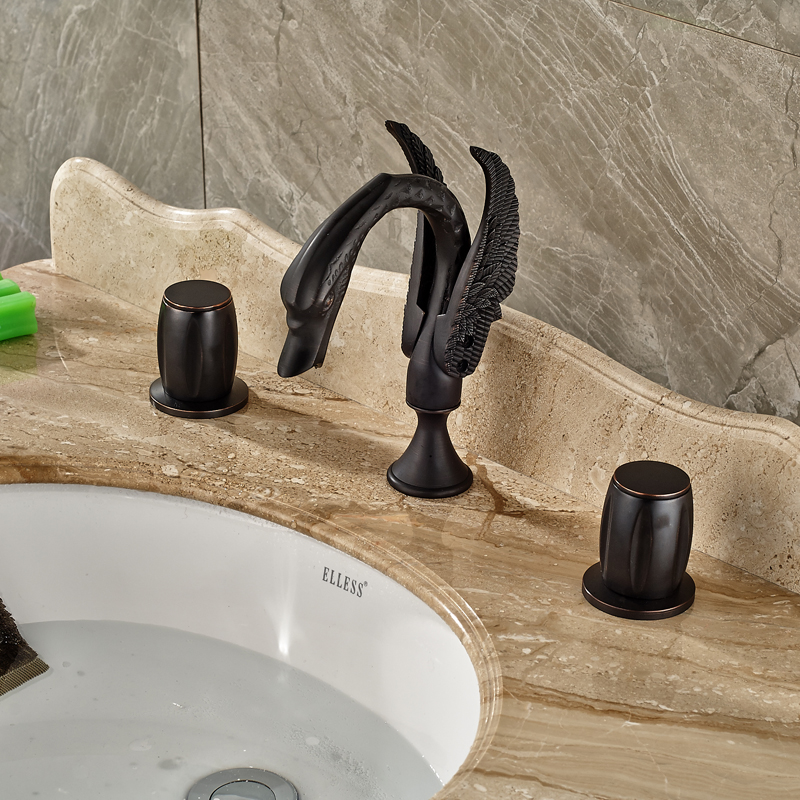 Oil Rubbed Bronze Classic Basin Faucet Deck Mounted Black Swan Bathroom Mixer Taps Dual Handles