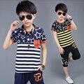 Conjuntos de meninos de Algodão Padrão de Impressão Estrela Bebê Menino T-Shirt Com Meia calças 2 pcs Terno Do Menino Do Esporte Ternos Listrados Crianças Roupas de Verão conjunto