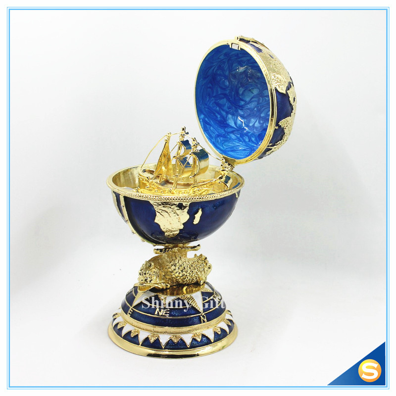 2016 Decorative Faberge Egg / Trinket Jewel Box The Globe with Ship ...
