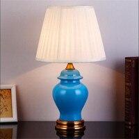 New Modern Handmade Blue Ceramic Fabric E27 Table Lamp Adjustable For Living Room Bedroom Study H