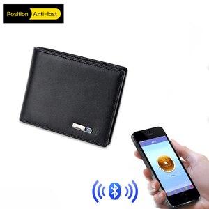 Умный мужской кошелек из натуральной кожи, высококачественный Умный кошелек с Bluetooth и защитой от потери, мужской держатель для карт, подходи...