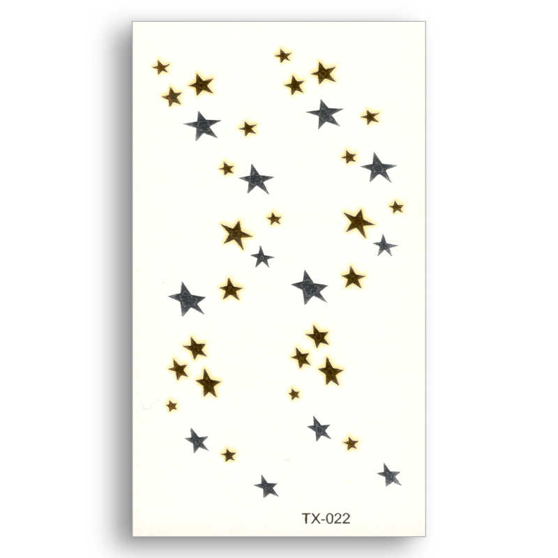Temporary Fake tattoo Metallic Gold Sliver Pentagram Waterproof Star pattern Stickers Water Transfer Sexy Glitter Body Art