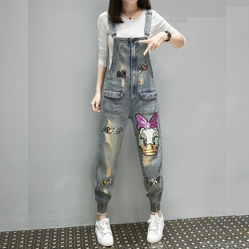 Denim Overalls For Women 2018 New Spring Autumn Beads Cartoon Hole Women's Jumpsuits Loose Casual Denim Pants Students Rompers