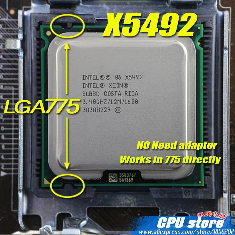INTEL XEON X5492 3.4GHz/12M/1600Mhz/CPU Equal To LGA775 Core 2 Quad Q9650 Q9550  CPU,works On LGA775 Mainboard No Need Adapter