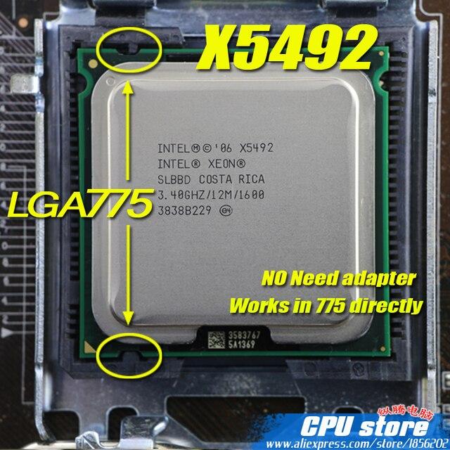 Intel Xeon x5492 3.4 ГГц/12 м/1600 мГц/Процессор равно LGA775 Core 2 quad Q9650 q9550 Процессор, работает на LGA775 плата нет необходимости адаптер