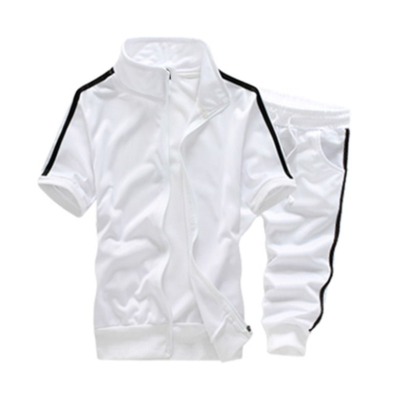 FDWERYNH Summer Fashion Tracksuit Men Set Short Sleeve Casaul Slim Fit Sporting Men Soli ...