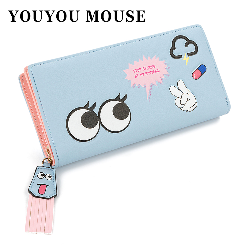 YOUYOU MOUSE Lovely Cartoon Style Women Wallets PU Leather Long Money Purse Women High Eyes Pattern Capacity Zip 2 Fold Wallet  палатка кемпинговая тотеm hurone 4 цвет зеленый ttt 005 09