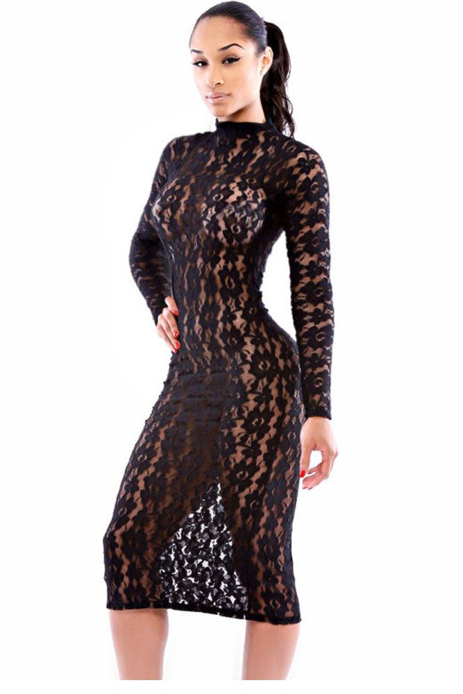 Black Sheer Lace Dress with Sleeves