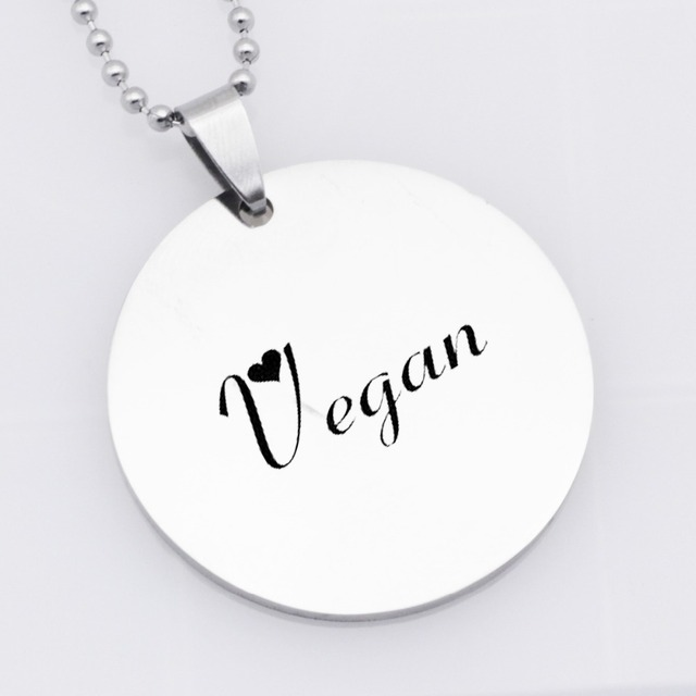 Stainless Steel Vegan Jewelry Vegetarian Symbol Pendant Necklace Gift For Birthday Drop Shipping YLQ6021
