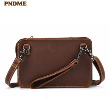 PNDME retro simple genuine leather mens clutch bag multi function crazy horse cowhide daily light shoulder messenger