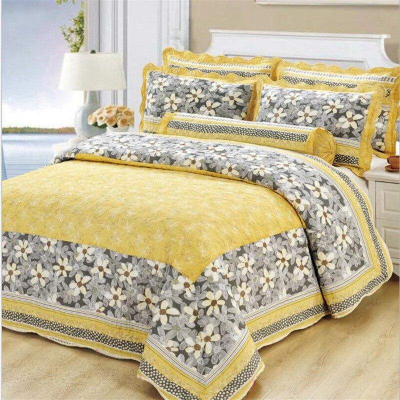 Belle Floral Couvre-lit Taies d'oreiller Reine Roi Taille Jaune 100% Coton Couverture Ensemble Épais Lit Cover Set 3 pcs