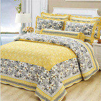 Lovely Floral Bedspread Pillow Cases Queen King Size Yellow 100% Cotton Coverlet Set Thick Bed Cover Set 3pcs