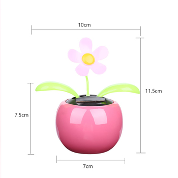 1PC New Moving Dancing Swing Flip flap Solar Toy Power Sunflower Apple Car gadgets Gift Home Toys Decorating Plants 5