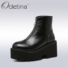 Odetina Spring Women Wedges Platform Boots 2017 Fashion Front Zipper Black Ankle Boots for Women High Heel Black Boots Plus Size