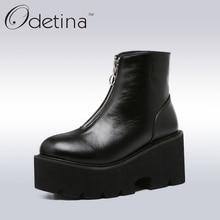 Odetina/весна Для женщин Ботинки на платформе и танкетке Мода 2017 г. передняя молния Черные ботильоны для Для женщин на высоком каблуке ботинки черного цвета плюс Размеры