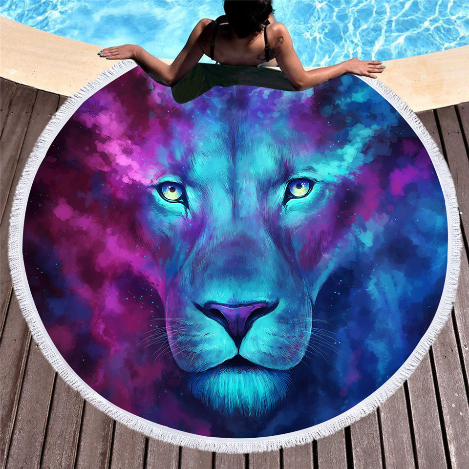 free shipping microfiber fabric beach towel sports scarf lively lion camping towel picnic towel