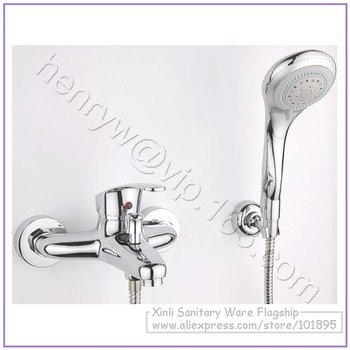 L15782 - Luxury Wall Mounted Chrome Color Brass Material Bath & Shower Faucet