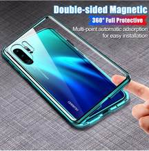 Front+Back Glass Film Magnetic Adsorption Case For Huawei Honor10Lite Honor 10 20 Pro V10 Nova 3 3i 4E 5 Pro 5i Mate 20 p20 p30(China)