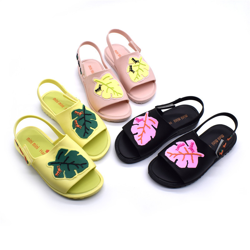 Summer 2018 Mini Melissa Girls Boys Sandals Childrens Shoes Mini Melissa Cartoon Leaves Non-slip Princess Shoes Jelly Soft