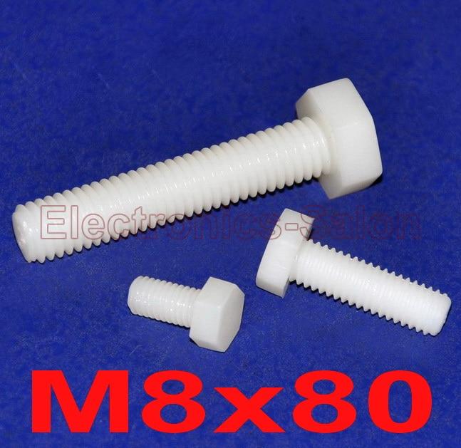100 pcs lot Metric M8 x 80mm Nylon Hex Bolt Hexagonal Screw