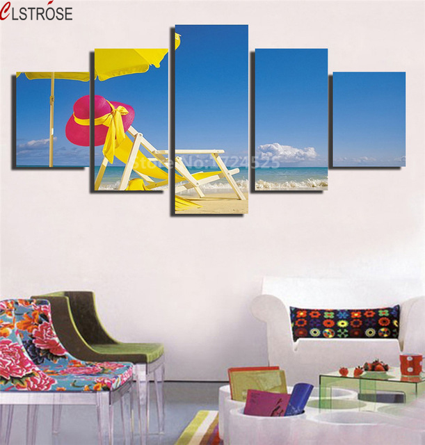 Clstrose Yellow Beach Chair And Umbrella Canvas Painting 5 Pcs Picture Wall Art Home Decor For Living Room On The
