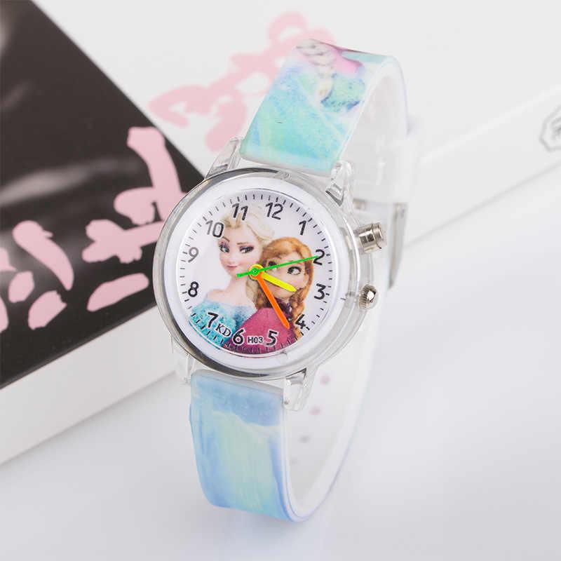 Светящиеся мигающие светящиеся Детские часы принцессы для девочек, студенческие часы, модные светящиеся детские часы, Детские кварцевые наручные часы