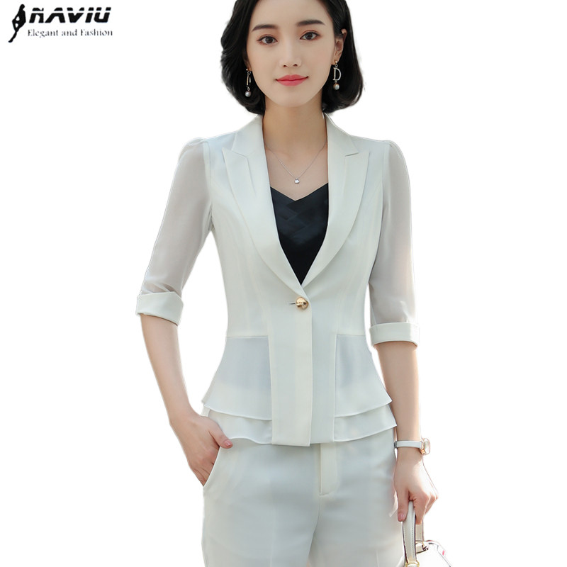 Formal women white Pants suits summer fashion elegant Ruffles half sleeve blazer and pants office Interview
