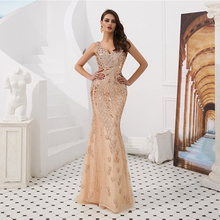 lamiabridal V-neck Mermaid Long Prom Dresses Sleeveless