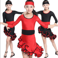 Bazzery Ballroom Dance Competition Dresses Latin Dance Training Performing Wear Costumes For Kids Girl Christmas Party